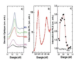 Absorption, photoluminescence, PLE dans le domaine spectral des nanotubes